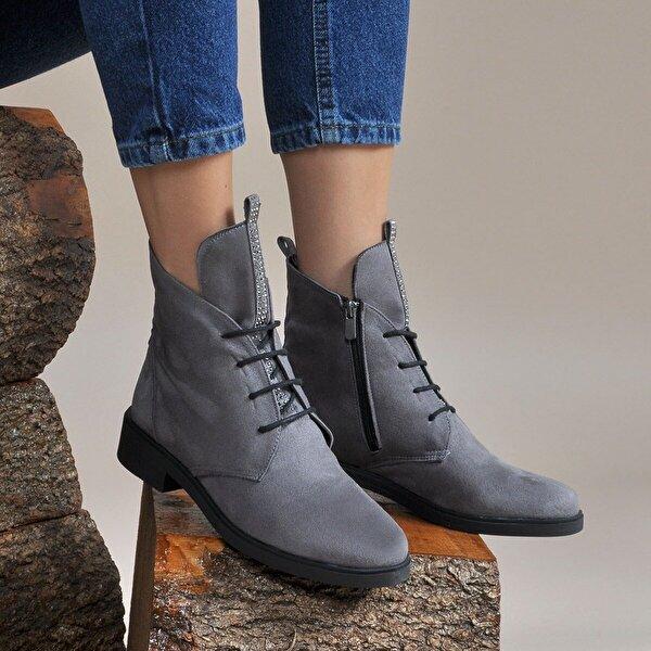 Vizon Ayakkabı Kadın  Gri-Süet Bot VZN19-047K