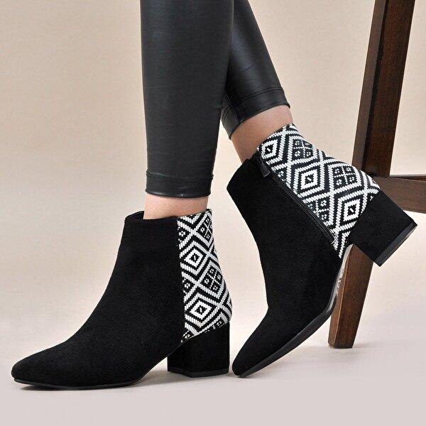 Vizon Ayakkabı Kadın  Siyah-Ekose Bot VZN19-150K