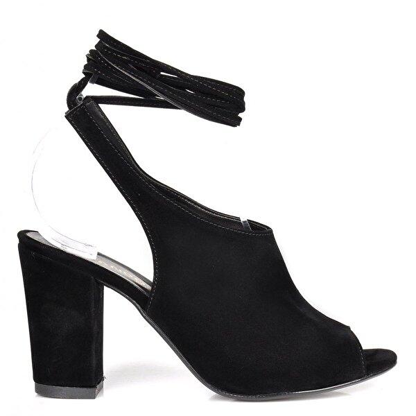 Vizon Ayakkabı Kadın  Siyah-Süet Klasik Topuklu Ayakkabı VZN-273Y