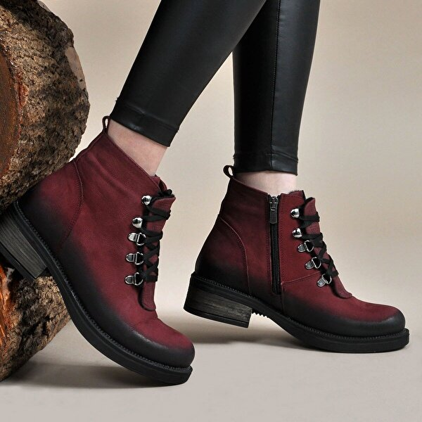 Vizon Ayakkabı Kadın  Bordo Bot VZN19-055K