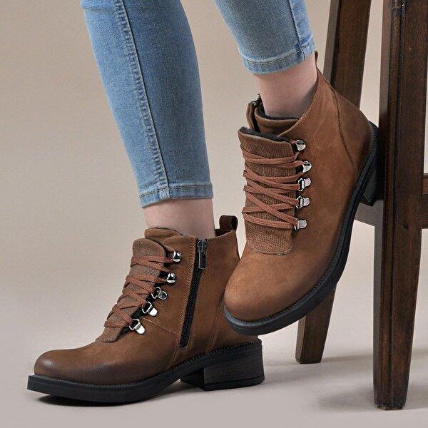 Vizon Ayakkabı Kadın  Taba-Nubuk Bot VZN19-055K