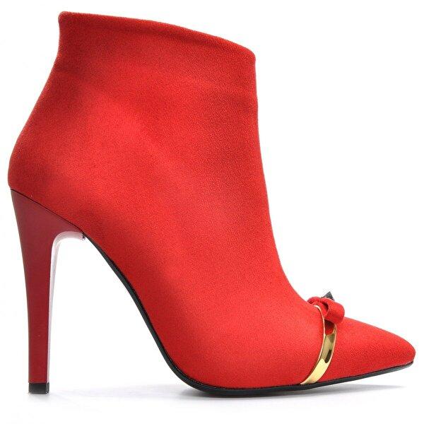 Vizon Ayakkabı Kadın  Kırmızı-Süet Bot VZN19-119K