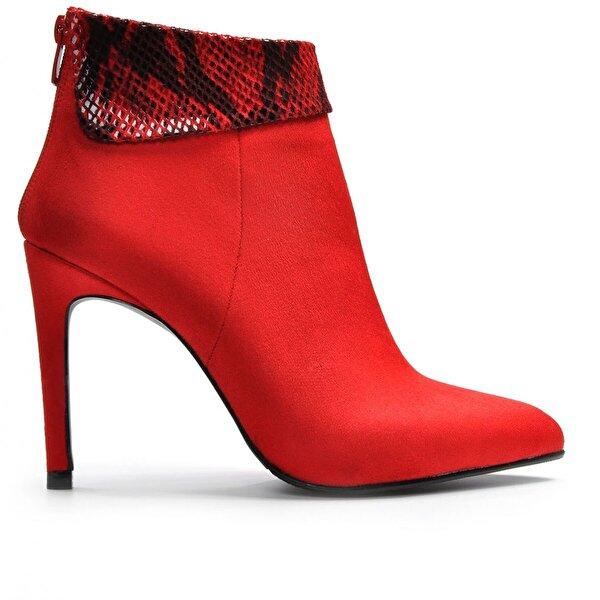 Vizon Ayakkabı Kadın  Kırmızı-Süet Bot VZN19-121K