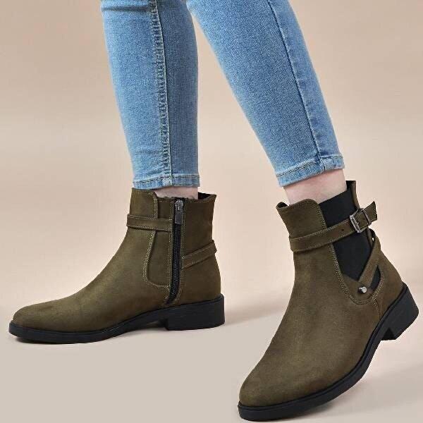 Vizon Ayakkabı Kadın  Haki-Süet Bot VZN19-143K