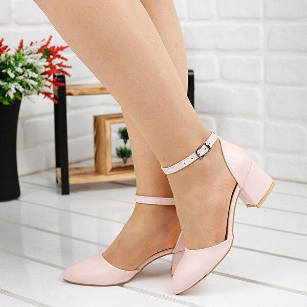 Ayakland 111012-347 5 Cm Topuk Bayan Cilt Sandalet Ayakkabı Pudra