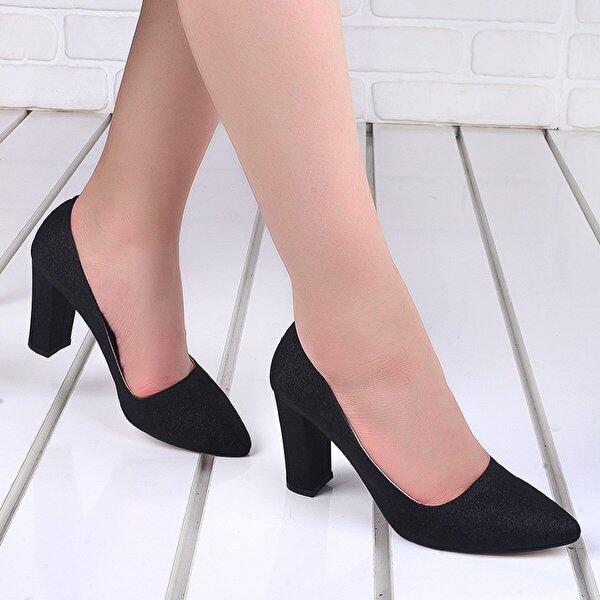 Ayakland 137029-311 Kum Simli Günlük 8 Cm Topuk Bayan Ayakkabı SİYAH