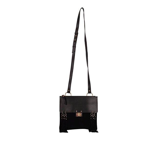 BİGGİ 01252 Siyah Kadın Suni Deri Çapraz Çanta