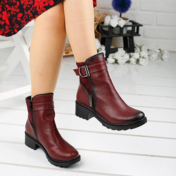 AYAKLAND 3883-823 Bordo Günlük 4 Cm Topuk Fermuarlı Bayan Bot Ayakkabı