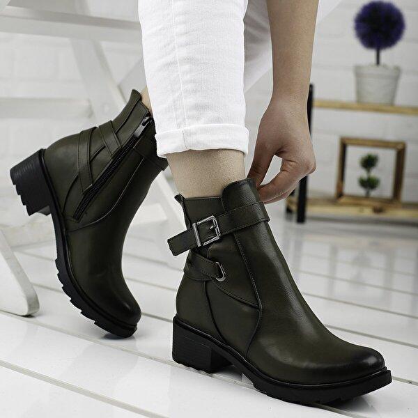 AYAKLAND 3883-814 Yeşil Günlük 4 Cm Topuk Bayan Cilt Bot Ayakkabı