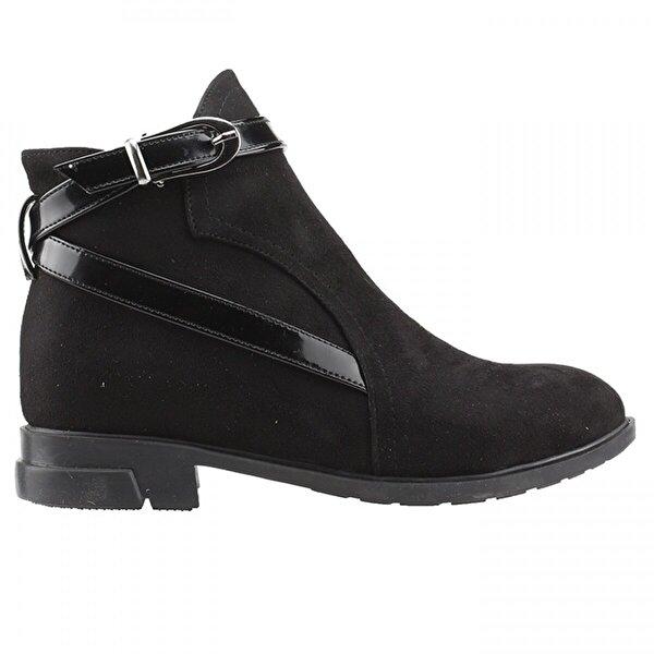 Ayakland 2320-835 Siyah Günlük Termo Fermuarlı Bayan Süet Bot Ayakkabı