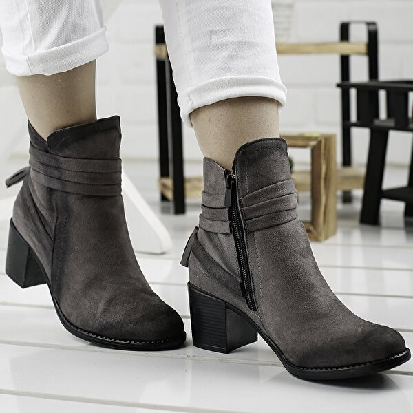 Ayakland 8422-832 Gri 6 Cm Topuk Bayan Süet Bot Ayakkabı
