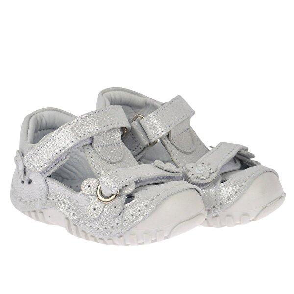 Kiko Kids Teo 106 %100 Deri Ortopedik Cırtlı Kız Çocuk  Sneaker Ayakkabı Gümüş