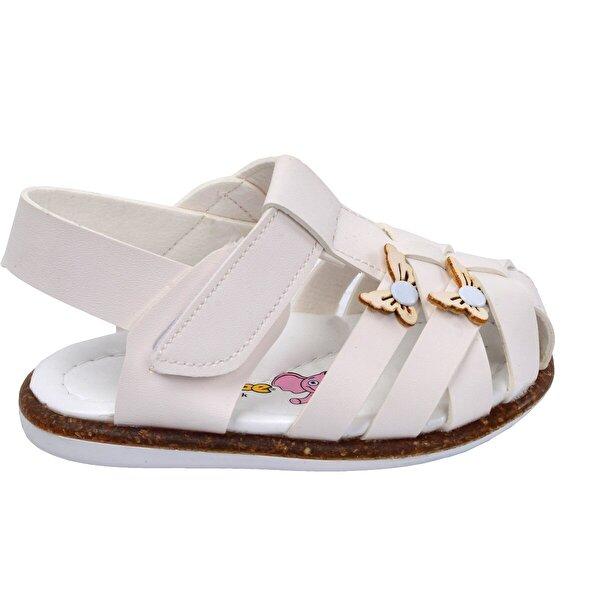 Şirin Bebe Kiko Şb 2262-71 Ortopedik Kız Çocuk İlk Adım Sandalet Terlik Beyaz