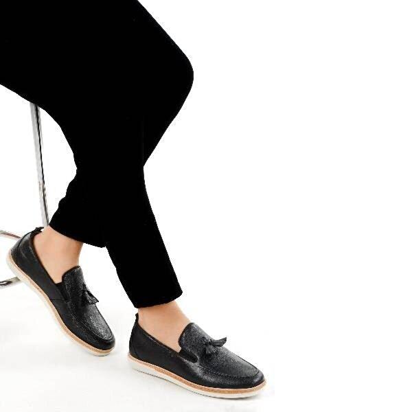 AYAKLAND 015 Deri Günlük Erkek Jel Topuk Ayakkabı SİYAH