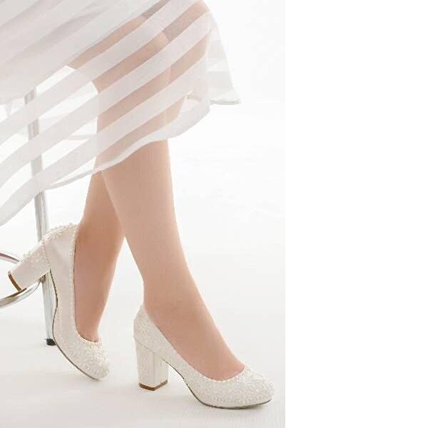 AYAKLAND Cmr G-10 Abiye 7 Cm Topuk Bayan Gelin Ayakkabı Sedef
