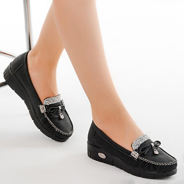 AYAKLAND Cns 181 A.Taşlı Günlük Bayan Babet Ayakkabı SİYAH