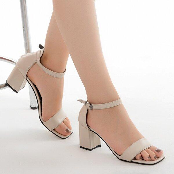 AYAKLAND 6470-05 Cilt 7 Cm Topuk Bayan Sandalet Ayakkabı TEN