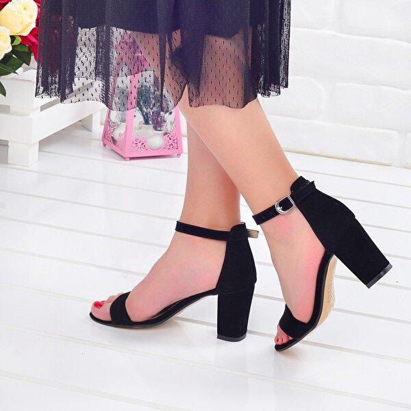 Ayakland Bsm 62 Siyah 7 Cm Topuk Bayan Nubuk Sandalet Ayakkabı