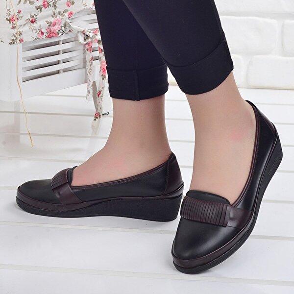 ANNAMARİA 1130 Günlük Yürüyüş Bayan Babet Cilt Ayakkabı SİYAH