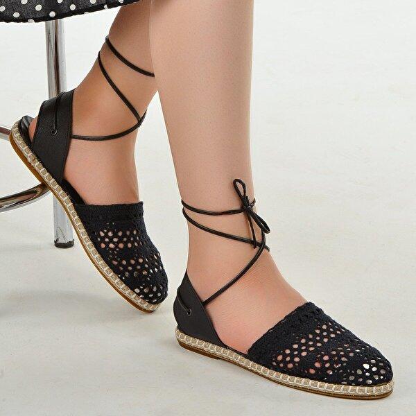 Ayakland 1200 Günlük Bayan Örgü Desenli Babet Ayakkabı SİYAH