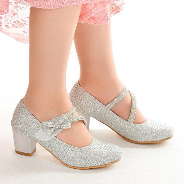 Kiko Kids Kiko 750 Çupra Günlük Kız Çocuk 4 Cm Topuk Babet Ayakkabı Gümüş