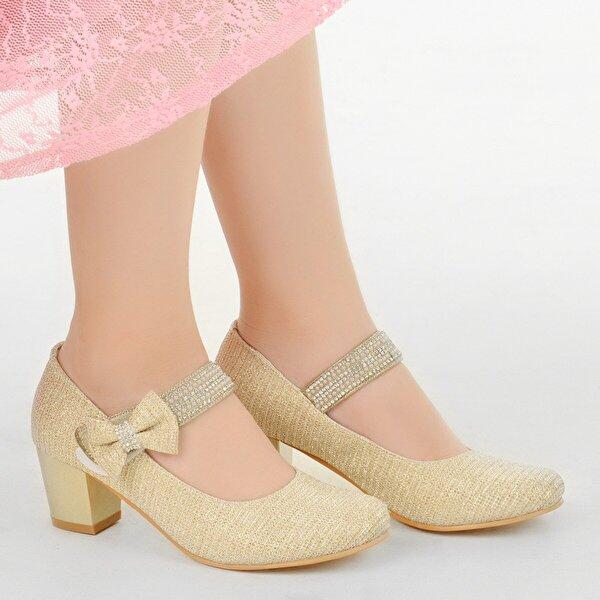Kiko Kids Kiko 752 Çupra Günlük Kız Çocuk 4 Cm Topuk Babet Ayakkabı ALTIN