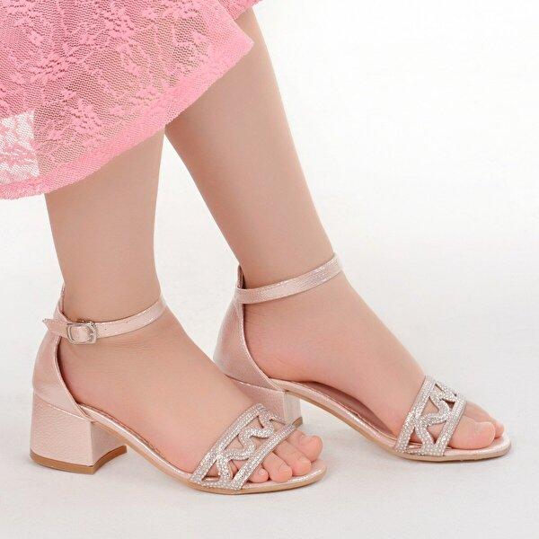 Kiko Kids Kiko 763 Çatlak Günlük Kız Çocuk 3 Cm Topuk Sandalet Ayakkabı Pudra