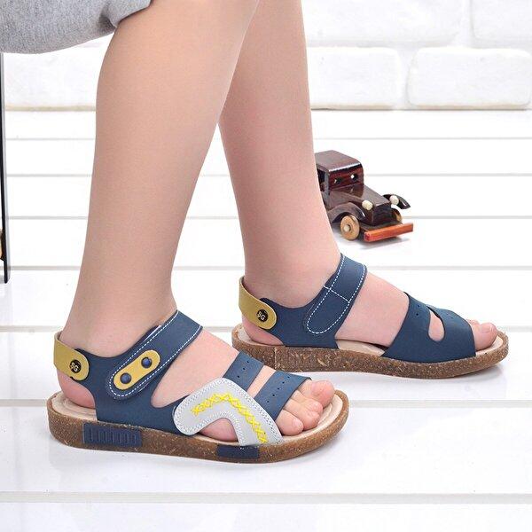 Şirin Bebe Kiko Şb 2498-07 Ortopedik Erkek Çocuk Sandalet Terlik Lacivert-Gri