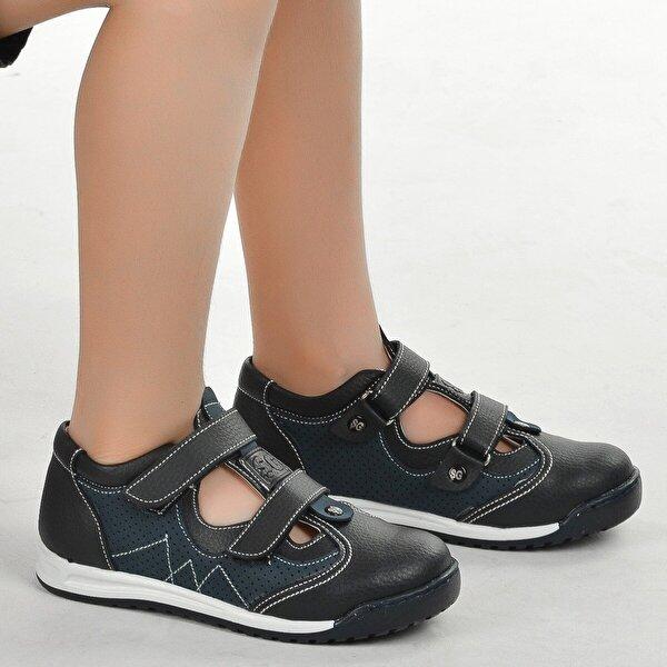 Şirin Bebe Kiko Şb 2411-17 Ortopedik Erkek Çocuk Ayakkabı Sandalet Siyah Lacivert