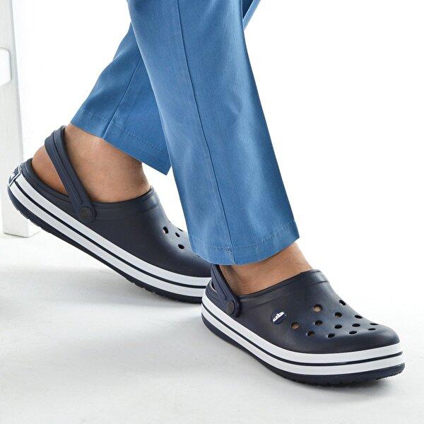 AYAKLAND Akn E195.M.000 Hastane Ortopedik Erkek Sandalet Terlik Lacivert Beyaz Lacivert
