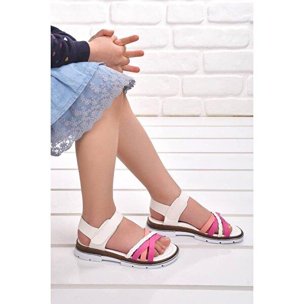 Şirin Bebe Kiko Şb 2469-78 Ortopedik Kız Çocuk Sandalet Terlik Fuşya-Somon-Beyaz