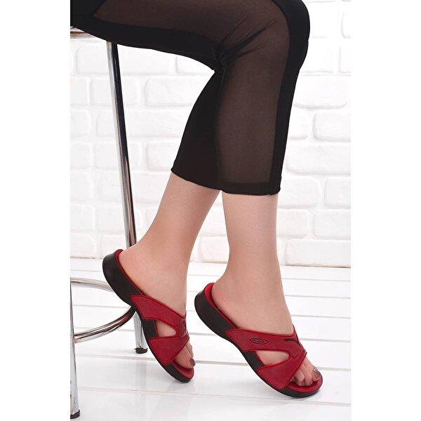 Ceyo 3400-2 Günlük Anatomik  Bayan Terlik Ayakkabı KIRMIZI