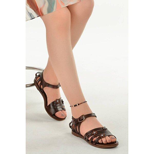 Ayakland 3260 Günlük Kemerli Bayan Sandalet Terlik Kahverengi