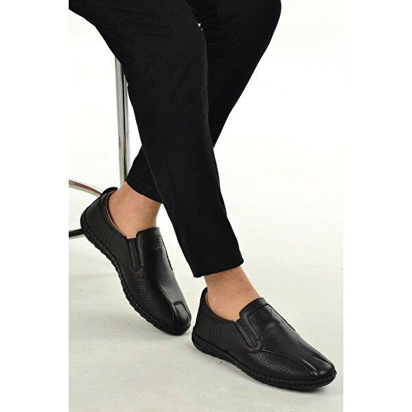 Ayakland 021 Deri Günlük Erkek Jel Topuk Ayakkabı SİYAH