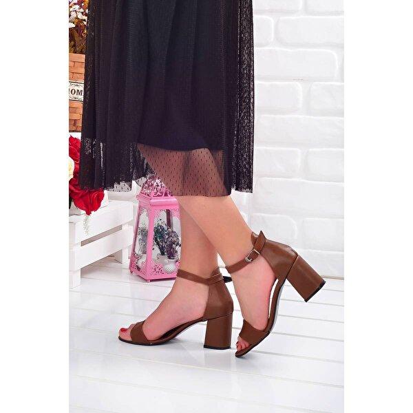 AYAKLAND 2013-05 Cilt 7 Cm Topuk Bayan Sandalet Ayakkabı TABA