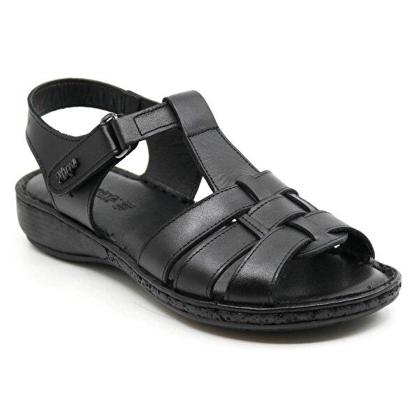 Muya Hakiki Deri Ortopedi Kadın Sandalet 97159 Siyah