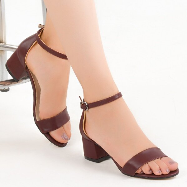 AYAKLAND Bsm 62 Cilt 5 Cm Topuk Bayan Sandalet Ayakkabı BORDO