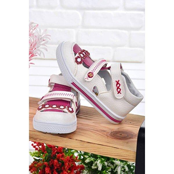 Şirin Bebe Kiko Şb 2223-28 Orto pedik Kız Çocuk Bebe Ayakkabı Sandalet Beyaz-Fuşya