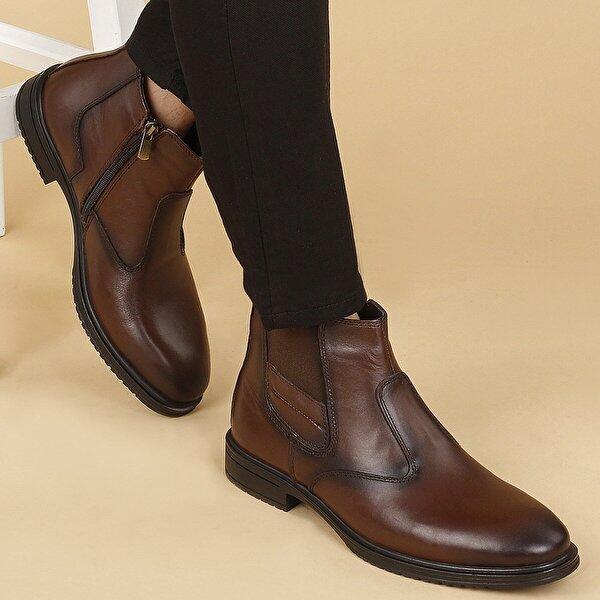 AYAKLAND Hrz 095 Deri Kauçuk Taban Fermuarlı Erkek Bot Ayakkabı Kahverengi