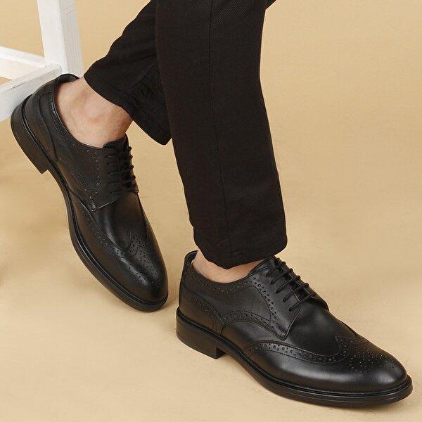 AYAKLAND 03 Günlük Deri Kauçuk Taban Erkek Klasik Ayakkabı SİYAH