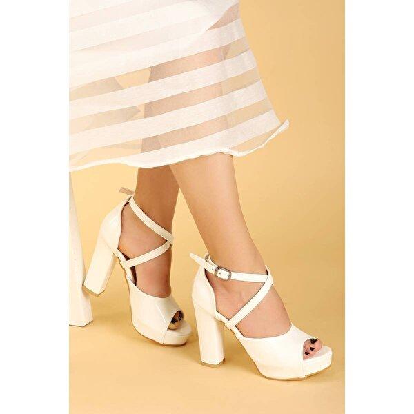 AYAKLAND 3210-2058 Rugan Abiye 11 Cm Platform Topuk Bayan Sandalet Ayakkabı BEYAZ