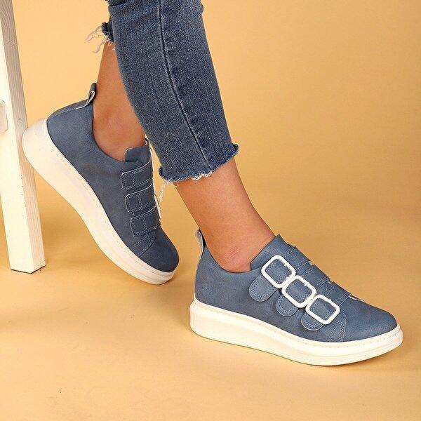 AYAKLAND 101 Günlük Kemerli Bayan Spor Ayakkabı Mavi