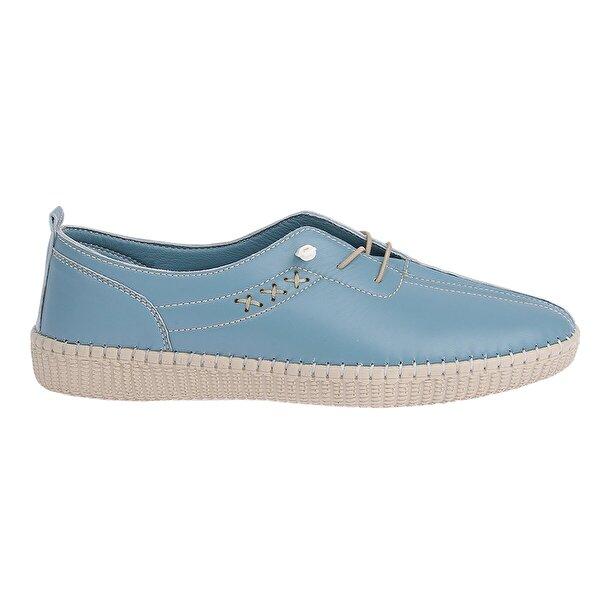 AYAKLAND Frd 5041 %100 Deri Full Comfort Orto pedik Bayan Ayakkabı Mavi