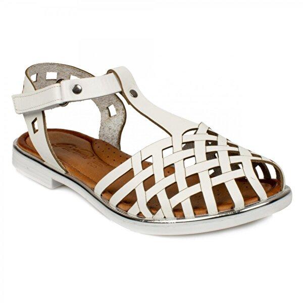 Piarmoni Msm Trend Sandals 2311 Cırtlı Beyaz Çocuk Sandalet