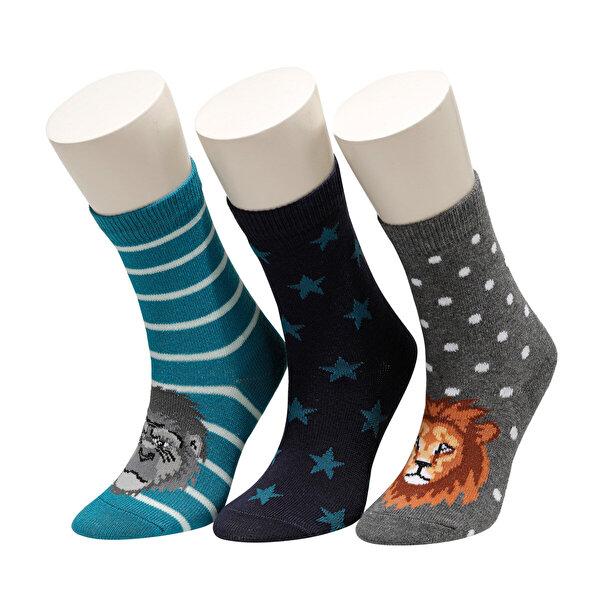 I Cool ANIMALHEAD 3 LU SKT-B Mavi Erkek Çocuk Soket Çorap