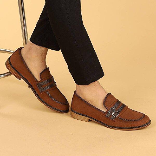 Ayakland 1100 Süet Günlük Kemerli Erkek Klasik Ayakkabı TABA