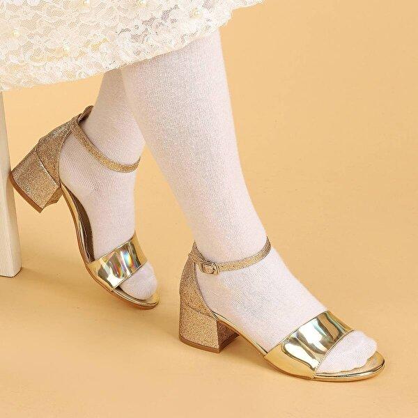 Kiko Kids Kiko 768 Ayna Kum Günlük Kız Çocuk 3 Cm Topuk Sandalet Ayakkabı ALTIN