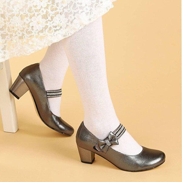 Kiko Kids Kiko 752 Vakko Günlük Kız Çocuk 4 Cm Topuk Babet Ayakkabı PLATİN