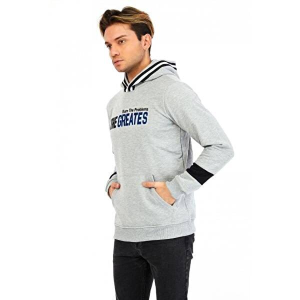 Louis Park Erkek Baskılı Basic Kapşonlu Kanguru Cep Sweat Shirt