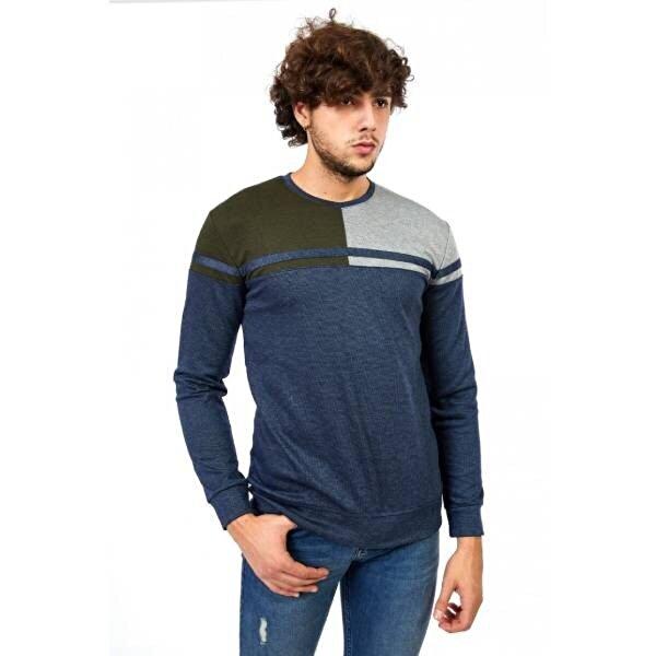 Louis Park Sıfır Yaka Parçalı Sweat Shirt